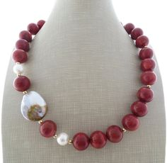Red coral necklace chunky necklace beaded necklace by Sofiasbijoux