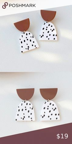 Polka Dot Earrings, Skull Earrings, Gold Drop Earrings, Blue Earrings, Diy Clay, Gold Texture, Gold Fashion, Clay Jewelry, Check