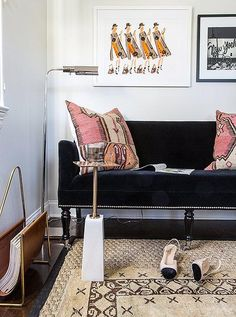 """This corner shows that a mix of glam, midcentury, modern and globally-inspired styles work in harmony in this office space. See the full home office before and after makeover on IInside Our Superstylish Office Makeover for Le Catch's Fashion Editor Founder, Marlien Rentmeester"""" on the One Kings Lane Style Guide!"""