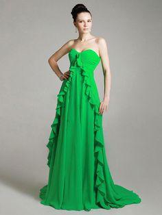 Empire Sweetheart Chiffon Chapel Train Sleeveless Ruffles Formal Dresses at dressestylish