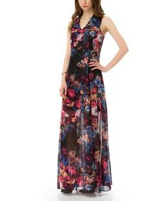 Blue & Fuchsia Floral Maxi Dress #zulily #zulilyfinds