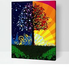 Colorful Night Tree Canvas Painting By Numbers DIY Wall Art Paint On Canvas Hand Made Home Decor Artwork Cuadros Decor Diy Wall Art, Modern Wall Art, Artist Painting, Diy Painting, Egyptian Drawings, Tree Canvas, Wall Canvas, Paint By Number Kits, Colorful Trees