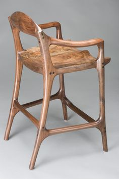 Contemporary Bar Stool by Scott Morrison Wood Chair Design, Wood Arm Chair, Cool Bar Stools, Cool Chairs, Handmade Furniture, Wood Furniture, Kitchen Wet Bar, Mid Century Bar Stools, Contemporary Bar Stools