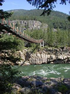 Swinging Bridge, Kootenai River - never was scared on this until I took my kids..... beautiful views of the falls on the other side.