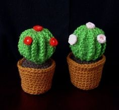 Pattern No 4 - Knitted barrel cactus in crochet pot - pincushion. $3.50, via Etsy.