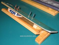 ski cribbage board.. awesome idea.  could use other materials as well.
