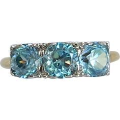 London Blue Topaz 3 Stone 14K Gold Ring 1.68 Carats December Birthstone   Offered by Ruby Lane Shop Cousins Antiques