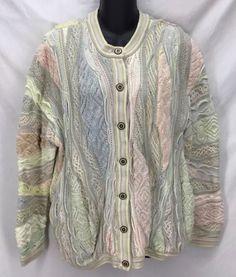 Coogi Australia Textured Mercerized Cotton Cardigan Sweater Pastel Ladies sz L #COOGI #Cardigan