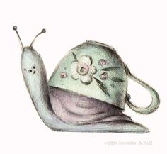 Snail in a teacup by Jennifer A. Bell: side of foot tattoo Children's Book Illustration, Illustrations, Cute Images, Cute Pictures, Snail Art, Cute Art, Art Drawings, Cute Animals, Artsy