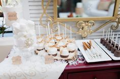 Printed wood dessert buffet tags by Dogwood Blossom Stationery. Dessert buffet by Two Sweets Bake Shop. Photo by Andi Mans Photography. Winter wedding ideas.