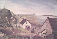 Watercolour painting, entitled A VIEW OF THE  CHÂTEAU RIVER, CAPE TORMENTS AND LOWER END OF THE ISLE OF ORLEANS NEAR QUEBEC, by Thomas Davies, showing a typical seigneury near Québec, circa 1787