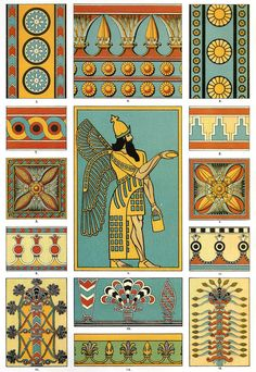Assyrian Painting Polychrome Sculpture Pottery Details from bas-reliefs, glazed and enamelled bricks and painted ornament found at Khorsabad, Koyunjik and Nimroud