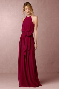 Anthropologie Alana Wedding Guest Dress - Searching for something a bit different? Look no further than this elegant chiffon dress. Dipped in the prettiest hues, the high neck and long, sweeping skirt lend loads of romance and femininity to this look. Red Bridesmaids, Red Bridesmaid Dresses, Prom Dresses, Formal Dresses, Bhldn Dresses, Chiffon Dresses, Dress Prom, Long Dresses, The Dress