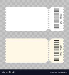 Ticket blank modern white template vector image on VectorStock Concert Ticket Template, Voucher Template Free, Concert Tickets, Deco Theme Cinema, Ticket Cinema, Polaroid Picture Frame, Ticket Design, Admission Ticket, Diy Boyfriend Gifts