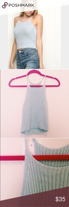 Baby Blue Edith Brandy Melville knit high neck top New with tags• purchased at brandy in Santa Monica • • never worn perfect condition •one size• there is no brandy Melville tag, just a generic store tag •✨PM EDITOR PICK✨ powder blue high neck knot sleeveless top   •fast shipping •discounts on bundles Brandy Melville Tops