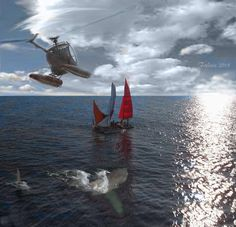 jaws 2 creation by Federico Alain Jaws Film, Jaws 2, Jaws Movie, Hai, Sharks, Madness, Fighter Jets, Horror, Cinema