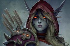 World Of Warcraft 3, Warcraft Art, Fantasy Girl, Dark Fantasy, World Of Warcraft Wallpaper, Elf Drawings, Sylvanas Windrunner, Dark Power, Night Elf