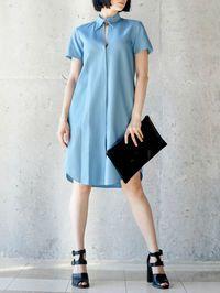 Slit Cotton Shirt Dress