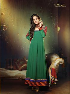 Simple and clam green shaded #georgette #anarkalisuit