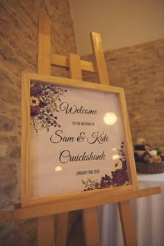 Wedding welcome sign at Kingscote Barn Winter Wedding 2016 #kingscotebarn #canva #winterwedding #weddingwelcomesign #weddingsign #welcomesign