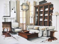 I absolutely love this interior sketch Interior Architecture Drawing, Interior Design Renderings, Drawing Interior, Interior Rendering, Interior Sketch, Interior And Exterior, Architecture Design, Classical Architecture, Interior Design Living Room