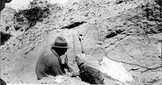 Robert C. Thorne working on carapace of Panochthus | por The Field Museum Library