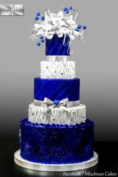 Royal Blue Silver Wedding Cake Cake Mladman Cakesdecor Blue And Silver Wedding Cakes Royal Blue Cake, Royal Blue Wedding Cakes, Wedding Cake Red, Elegant Wedding Cakes, Wedding Cakes With Flowers, Beautiful Wedding Cakes, Wedding Cake Designs, Wedding Ideas, Yellow Wedding