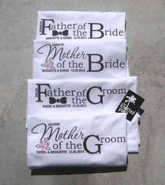 Only really pinning bc my name! Mother of the Bride, Father of the Bride, Mother of the Groom, Father of the Groom Tie and Bouquet Wedding T-Shirts : Buy One, Get One FREE via Etsy Wedding Gifts For Parents, Unique Wedding Gifts, Gifts For Wedding Party, Wedding Ideas, Groom Ties, Bride Groom, Mother And Father, Mother Of The Bride, Father Of The Bride Outfit