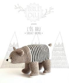 Crochet Amigurumi Ideas DIY Pack / Pattern of eco-cotton crochet animal / Ós bru / Brown bear / Oso pardo - Crochet Bear, Cotton Crochet, Cute Crochet, Crochet Animals, Crochet For Kids, Crochet Crafts, Crochet Dolls, Crochet Projects, Amigurumi Patterns
