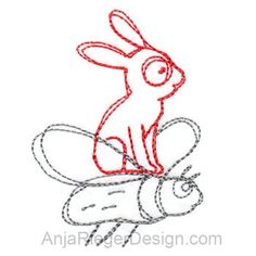 Bunny flies (Redwork)