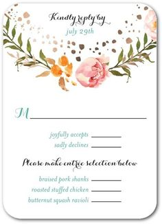 0de229548f97 Strung Floweret - Signature Foil Wedding Response Cards - Good on Paper -  Cashmere Pink -