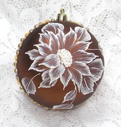 Bronze Hand Painted White MUD Texture Sunflower Design with Bling