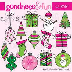 Pink Whimsy Christmas Clipart - this set includes 15 graphics for your Christmas crafts and projects.