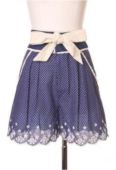Polka Dots Lace Trim Shorts