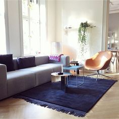 Mags sofa and About a Lounge in silk leather, with the NEW Raw Rug by Wrong for…