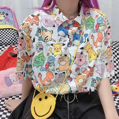 Harajuku new cartoon print blouses sold by Harajuku fashion. Shop more products from Harajuku fashion on Storenvy, the home of independent small businesses all over the world. Mode Harajuku, Harajuku Fashion, Kawaii Fashion, Cute Fashion, Fashion Outfits, Harajuku Clothing, Cartoon Fashion, Harajuku Style, Fashion Wigs