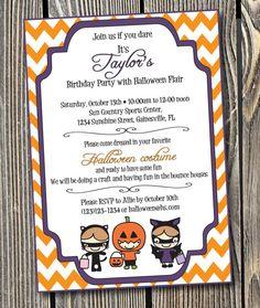 Halloween Birthday Party Custom Printable Invitation