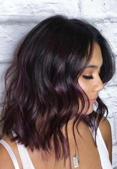Purple Brown Hair, Brown Blonde Hair, Brown Hair With Highlights, Light Brown Hair, Brown Hair Colors, Winter Hair Colors, Brown Hair With Purple Highlights, Subtle Purple Hair, Peekaboo Highlights