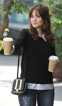 Zooey Deschanel's Black sweater with white shirt collar and striped crossbody bag on New Girl.  Outfit Details: http://wwzdw.com/z/4733/ #WWZDW