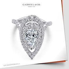 14K White Gold Pear Shape Diamond Engagement Ring ER13660P6W44JJ #WhiteGoldEngagementRing#WhiteGoldRing #PearshapedEngagementRing#PearshapedRing #DiamondEngagementRing#UniqueEngagementRing #ElegantEngagementRing#ClassicEngagementRing #14KWhiteGold#14K #GabrielNY#UniqueJewelry #FineJewelry#GabrielAndCo #EngagementRing #PearShapeDiamondEngagement Ring ##PearShapeDiamondRing Pear Shaped Engagement Rings, Pear Shaped Diamond, Jewelry Branding, Fine Jewelry, White Gold, Shapes, Color, Colour, Jewelry