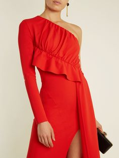 One-shoulder draped-panel cady gown | Givenchy | MATCHESFASHION.COM