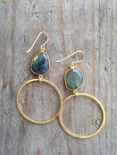 Labradorite Stone Earring with Gold Vermeil Hoop  by joydravecky