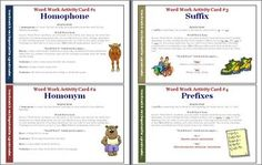 Word Work Activity Cards! 11 pages of activities for students to do during class! ($)