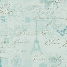 Duck Egg / Silver - 97753 - Calligraphy - French - Paris - Holden Decor Wallpaper