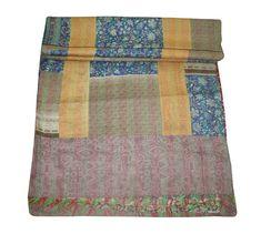 Silk Sari Patchwork Kantha Quilt Queen Bedspread Reversible Bedding in Home & Garden, Bedding, Quilts & Bedspreads Kantha Quilt, Quilts, Silk Bedding, Kantha Stitch, Bedspread, Bed Covers, Art Deco Fashion, Retro Vintage, Cotton Fabric