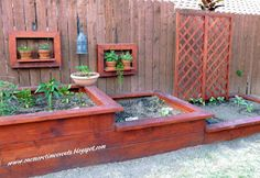 Interesting tiered garden beds with frame shelves