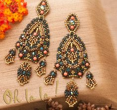 Swarovski and Gold Fill Statement Earrings Beaded by OhlalaJewelry