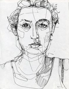 Reminder to do some fast pen portraits to loosen upPortrait. Reminder to do some fast pen portraits to loosen up Life Drawing, Drawing Sketches, Painting & Drawing, Art Drawings, Drawing Faces, Blind Contour Drawing, Contour Drawings, Art Visage, Drawing Techniques