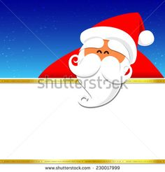 Christmas santa with blank space on the night background, vector illustration - stock vector