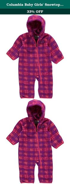 Columbia Baby Girls' Snowtop II Bunting, Punch Pink Plaid, 3-6 Months. A super soft full-body fleece barrier against winter chill, featuring a diagonal zipper across the front of the body for easy on and off and a spectrum of fun colors and prints.